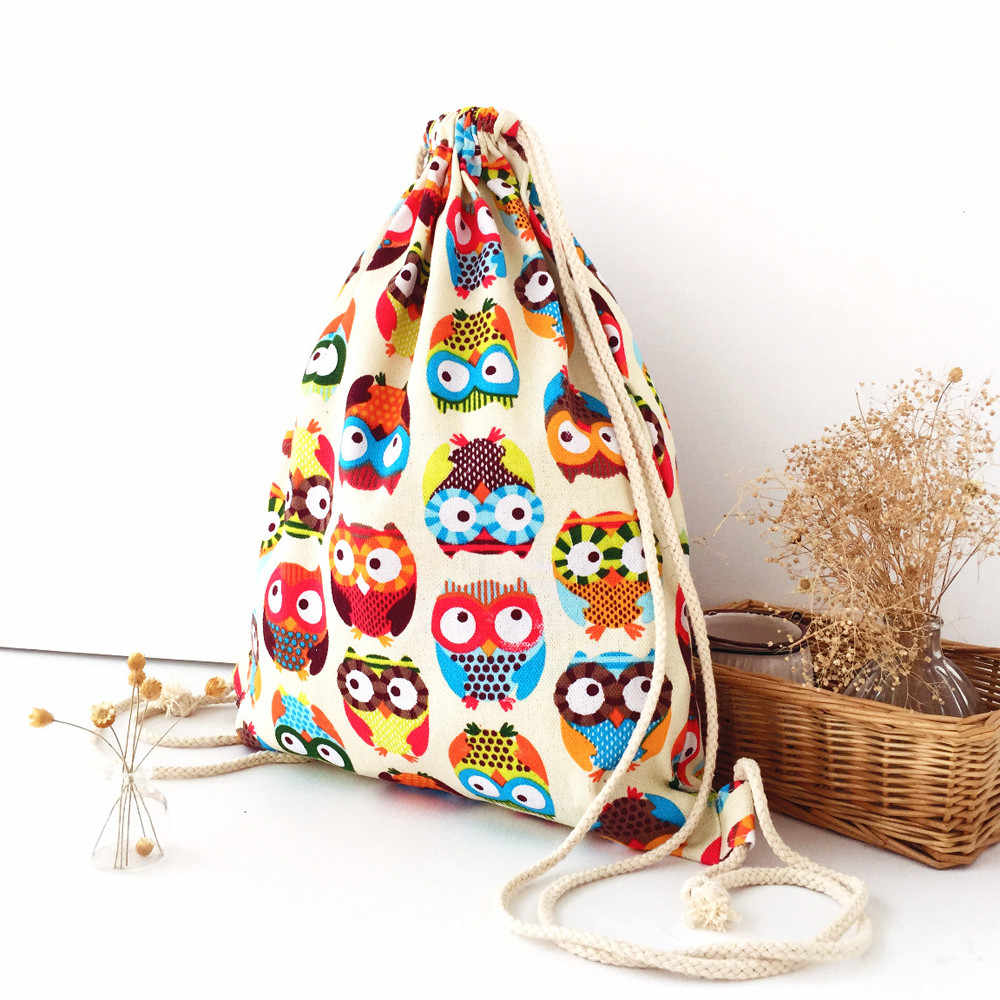 Womens Owl 3D Drawstring Backpack Canvas Summer Backpack Fashion Package Casual Travel Shopping Bags Harajuku Backpacks