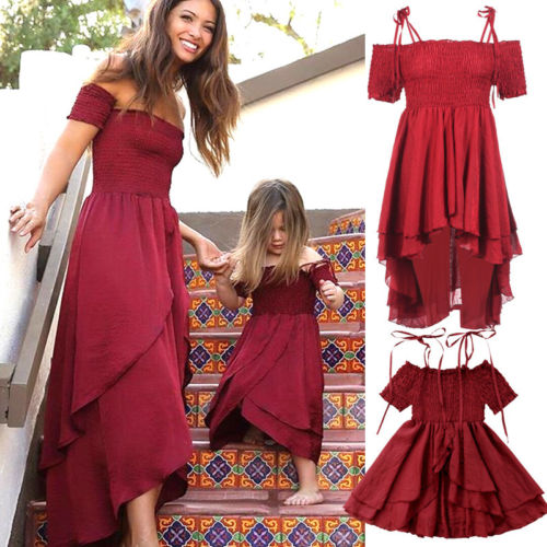 Summer Family Women Girl Party Dress Mom Daughter Off Shoulder Long Full Sundress Short Sleeve Solid Color Matching Dress Outfit