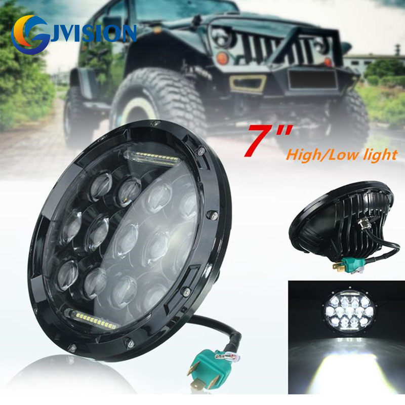 ФОТО 7'' 75W White LED Headlight with DRL H/L Beam for Offroad Jeep Wrangler JK TJ Harley Davidson Hummer Driving Lamp