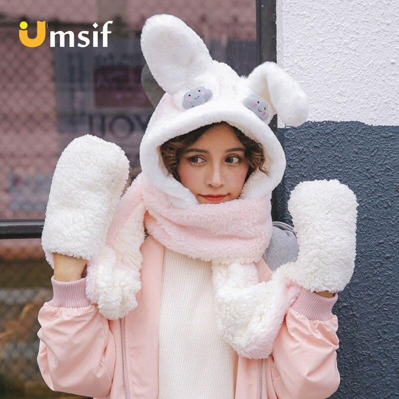 Nouveau hiver écharpe chapeau et gants ensembles pour les femmes épaissir chaud coupe-vent lapin oreille chapeaux femmes mignon en peluche écharpe animaux chapeau gants