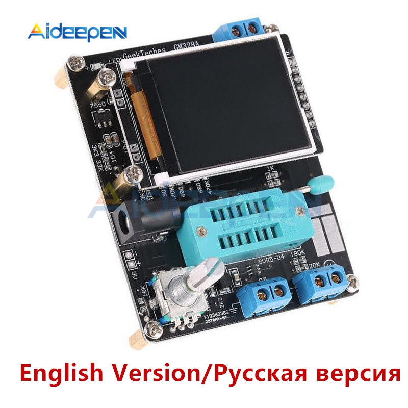 English/Russian GM328A LCD Transistor Tester Diode Capacitance ESR Voltage Frequency Meter PWM Square Wave Signal Generator Case