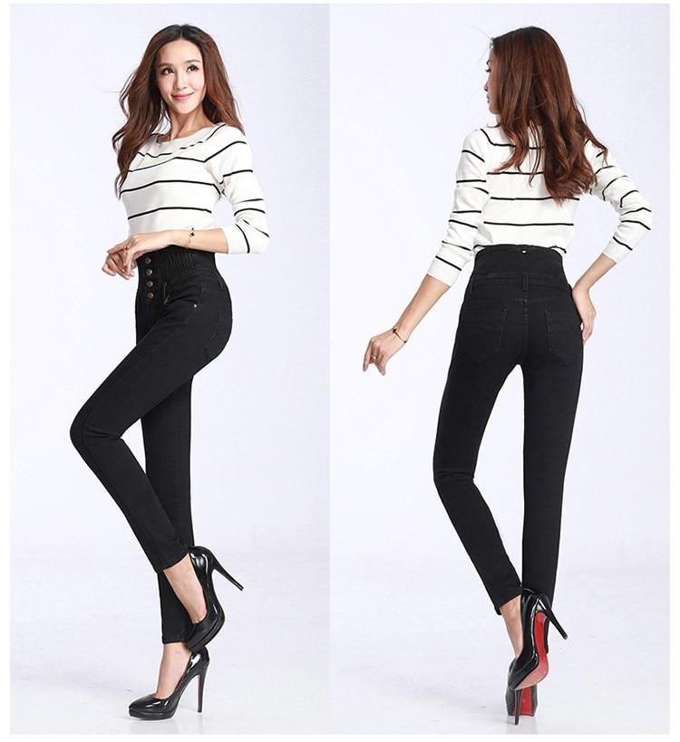 2019 jeans print  Fashion Women Elastic High Waist Skinny Stretch Jean Female Spring Jeans Feet Pantalones mujer Plus Size
