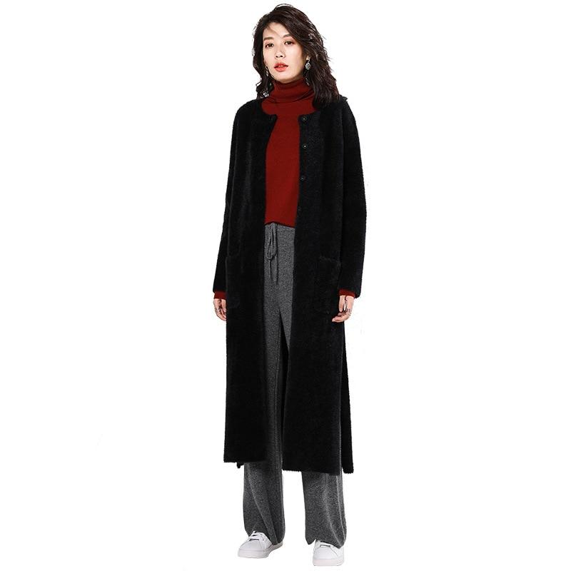 De Et Manteau Split Tempérament Nouvelles À D'hiver Col Automne Femmes Longues Mode 2018 Femelle Rond Noir Classique Manches wqB5XFnTT