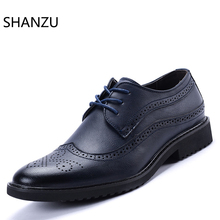 Men Bullock Shoes British Casual Style Dress Leather Oxfords Shoe Brown Brogue Shoes Lace-Up Business Zapatos Hombre 324