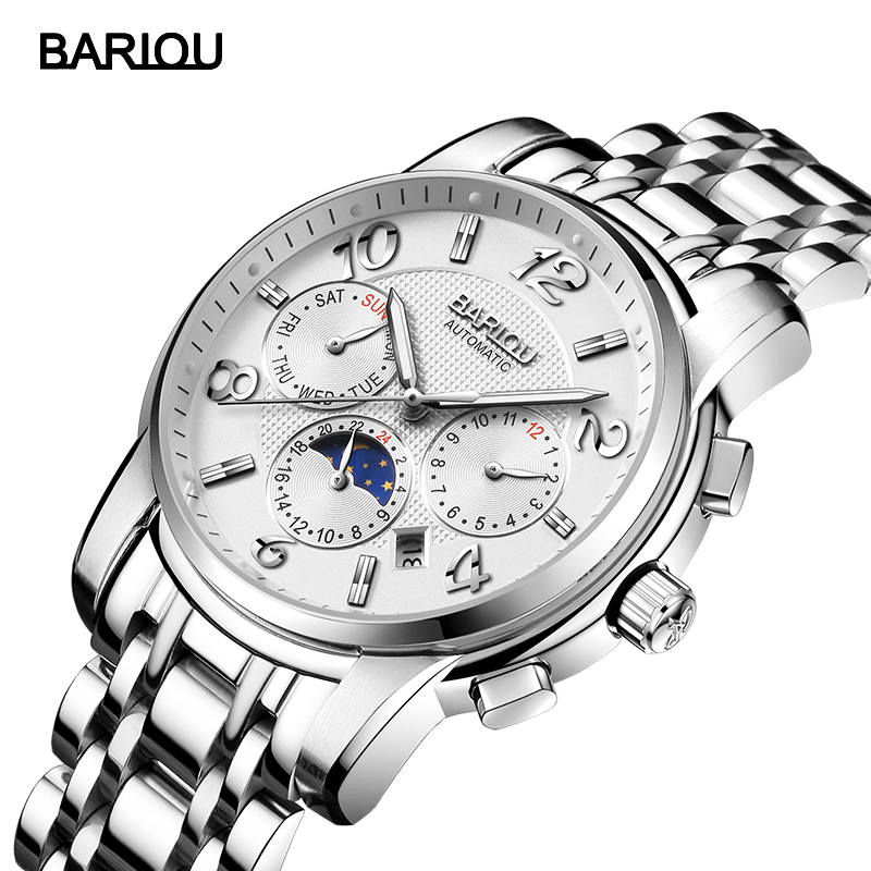 BARIOU Watch Men Automatic Mechanical Wristwatch Fashion Waterproof Stainless Steel Band Male Clock Relogio Masculino Hodinky 46 fashion top brand watch men automatic mechanical wristwatch stainless steel waterproof luminous male clock relogio masculino 46