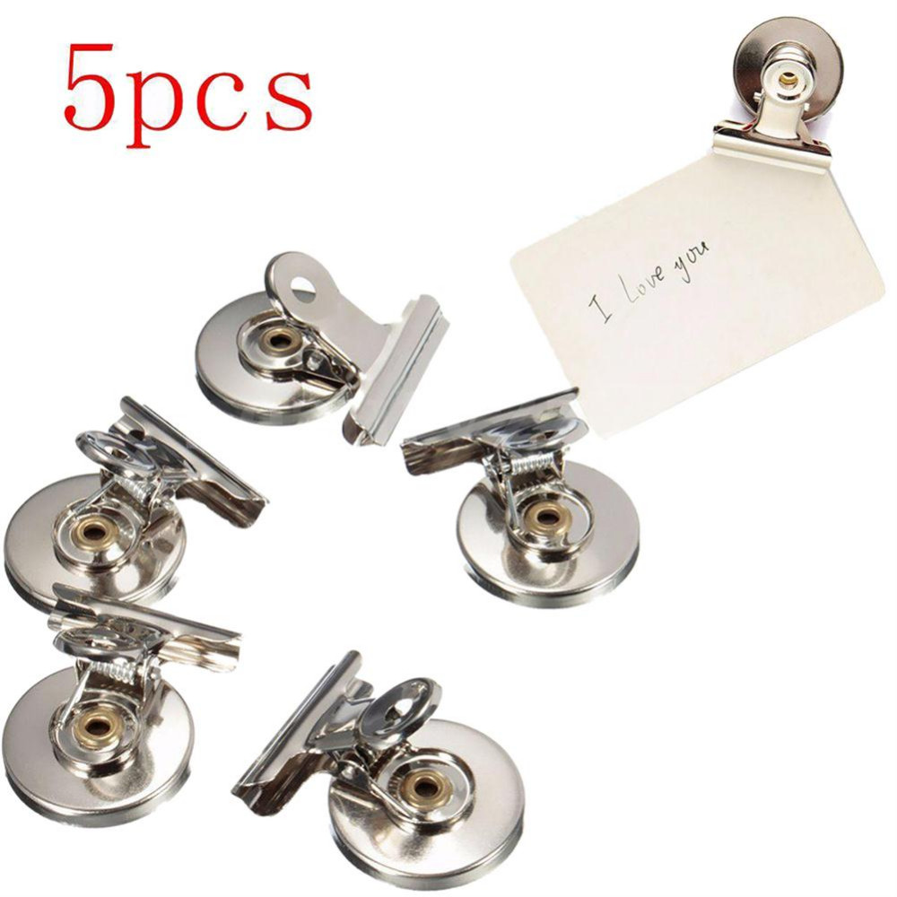5pcs 3cm Magnetic Clip Magnet Memo Note Message Holder Silver Metal Clamp Multifunctional Creative Paper Office Clips