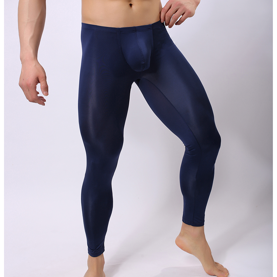 Man Sexy Nylon Transparent Pajama Pants/Ice Silk Pouch Sheer Leggings Bottoms/Gay Spandex Lounge Tights