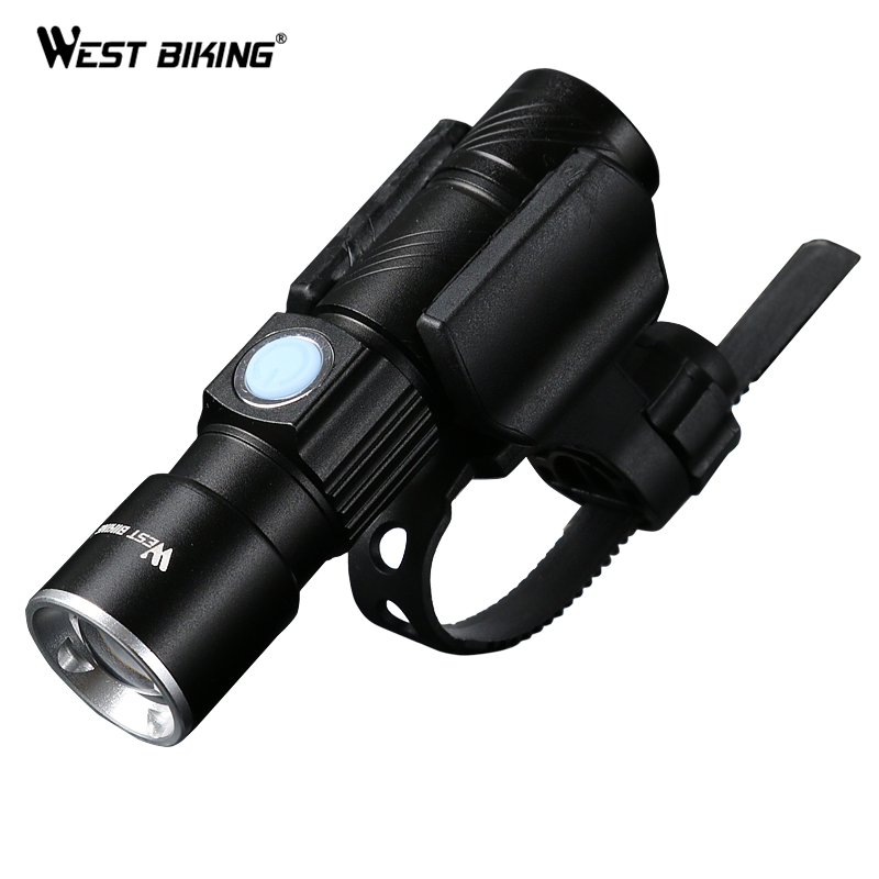 WEST BIKING Cycling Flashlight Front Led Bike Lamp Cree USB Charging Telescopic Bicycle Torch Holder Clips for Bicycle Handlebar
