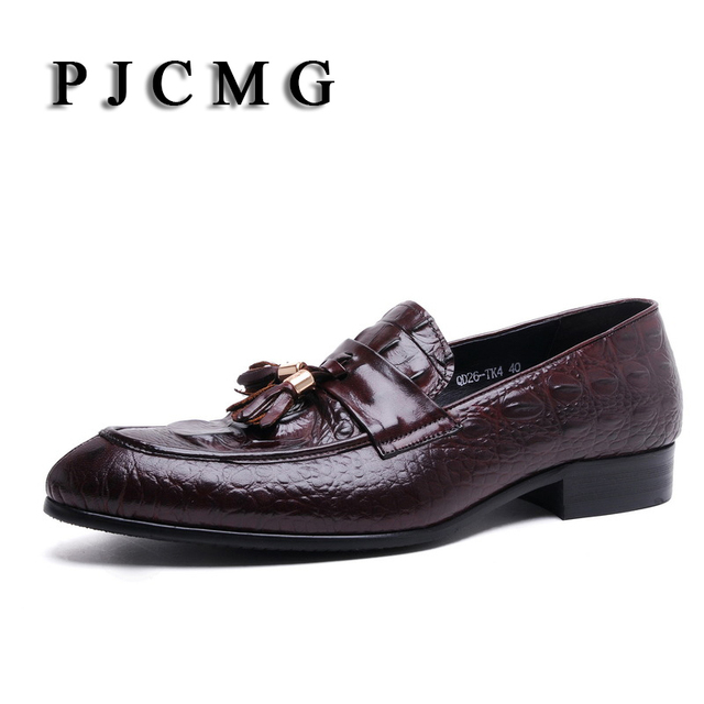 PJCMG Spring New Moccasins Crocodile Genuine Embossed Leather Breathable Casual Flats Loafers Driving Men Shoes With Charm