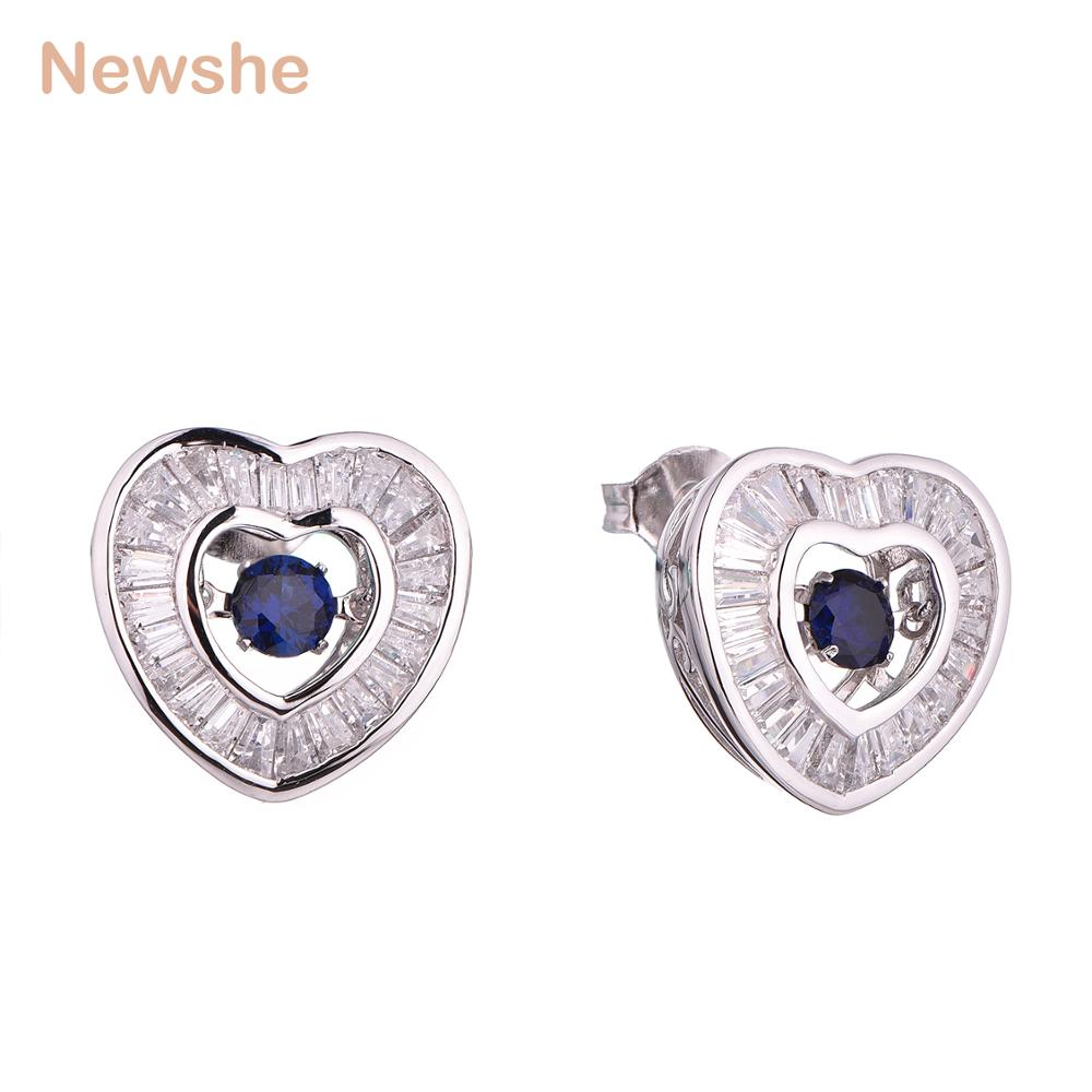 Newshe Blue Zirconia Dancing Stone 925 Sterling Silver 1.3 Ct Heart Shape Drop Earrings Fashionable Jewelry For Women GE12123 newshe 925 sterling silver rose gold color dangle drop earrings 6 ct red rhinestone heart shape aaa cz fashion jewelry for women