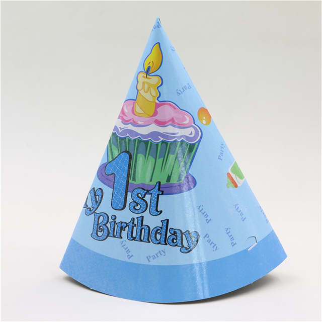 Placeholder 6pcs Pack Boys One Year Old Kids Happy Birthday Cap Hat With String Cone Decoration
