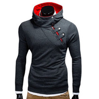 Hoodies Men Hip Hop Sweatshirt Fashion Mens Hoodies 2017 Brand Autumn Winter Cotton Pullover Button Turtleneck