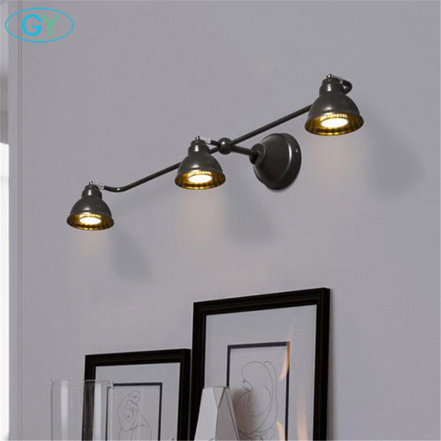 New Art Decoration GU10 Led Bulb Wall Lights Black Metal Up Down Adjustable  Lampshades Bathroom Mirror