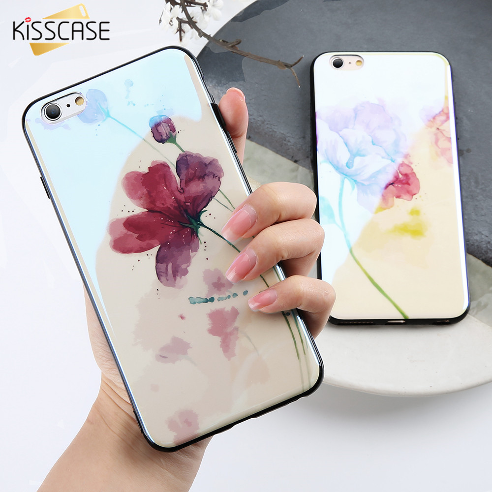 KISSCASE Floral Case For iPhone X 10 Glossy Soft TPU Phone Cases For iPhone 8 7 Plus 6S 6 Plus Full Protection Case Cover Coque