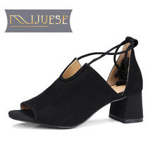 MLJUESE 2018 women sandals Kid Suede summer riband Black color lace up cover heel sandals women size 34-42