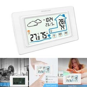 Image 2 - דיגיטלי אלחוטי מדדי לחות מגע מסך מזג אוויר תחנת טמפרטורת לחות מד מדדי לחות לוח דקורטיבי מגע שעון