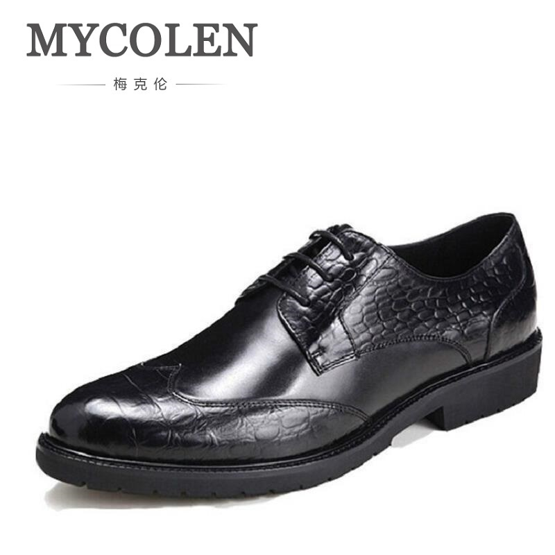 MYCOLEN Men Dress Shoes Business Pointed Toe Men Oxfords For Men Leather Brand Black Derby Shoes Red Wine Sapato Masculino Couro okhotcn male pointed toe cow leather shoes daily plaid men casual business dress shoes oxfords men flat lace up sapato masculino