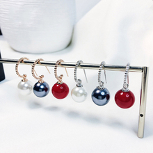2019 Hot selling 925 silver and rose gold Natural Freshwater Black Red White Big Pearl Dangle Earrings women fashion jewelry цена и фото