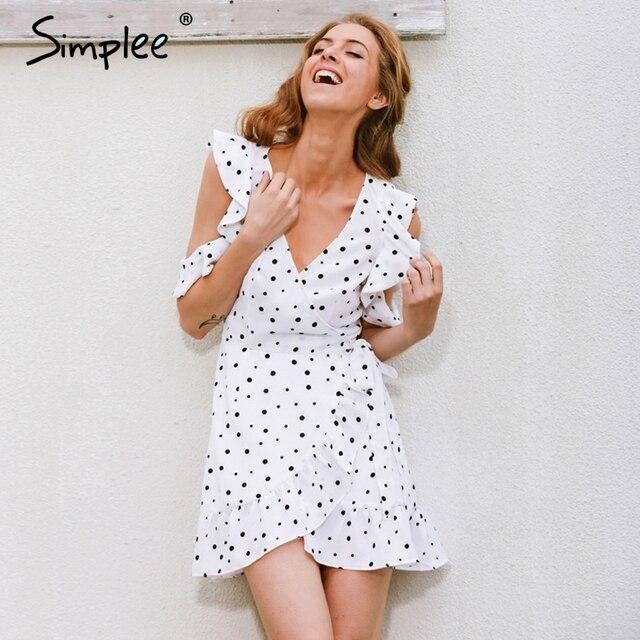 Simplee Рюшами холодный polkadot печати лето dress Винтаж нерегулярные лук wrap короткие dress Женщины chic шифон белый dress