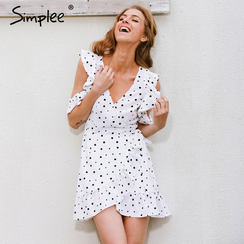 Simplee polkadot colmena cold shoulder imprimir summer dress vintage irregular b
