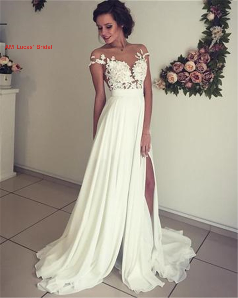 Bridal Dresses 2019: Long Sexy Wedding Dresses 2019 New Sweep Train Bridal