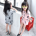 2017 Meninas Do Bebê Verão Roupas Gatos Dos Desenhos Animados T-shirt + Calças de Manga Curta Atender Crianças Define Moda Estilo Coreano Crianças Vestidos
