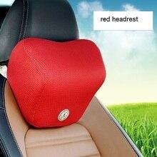 Mesh car seat neck pillow cloth cover memory foam car headrest pillows automobile cute car accessories