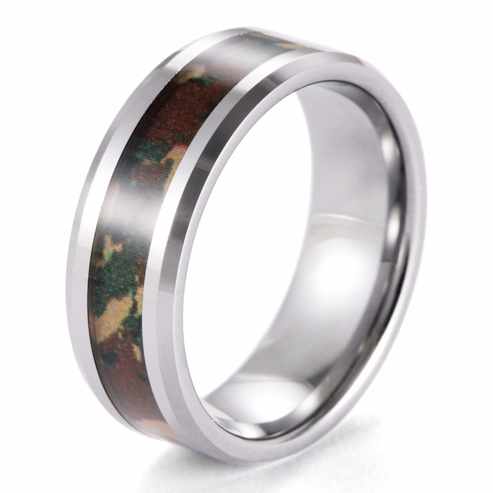 SHARDON 8mm Mens Beveled Tungsten Wedding Ring with Military Style