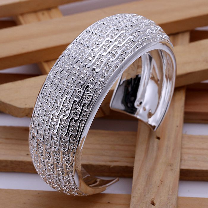 B025 silver fashion jewelry 925 jewelry silver plated bangle bracelet Weaved Web Bangle /JBYYQOKA GTIDEZKA