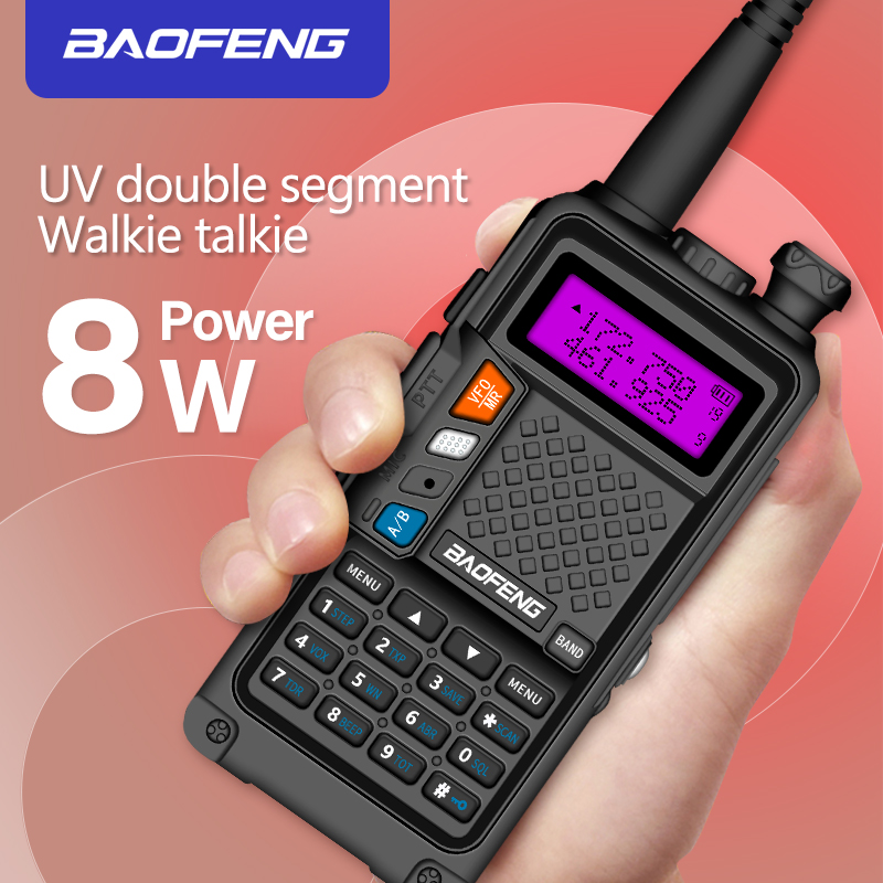 2019 original BAOFENG BF R9 8W High Power UHF/VHF Dual Band 10KM Long Range Walkie Talkie 3800mAh Battery Handheld Radio-in Walkie Talkie from Cellphones & Telecommunications
