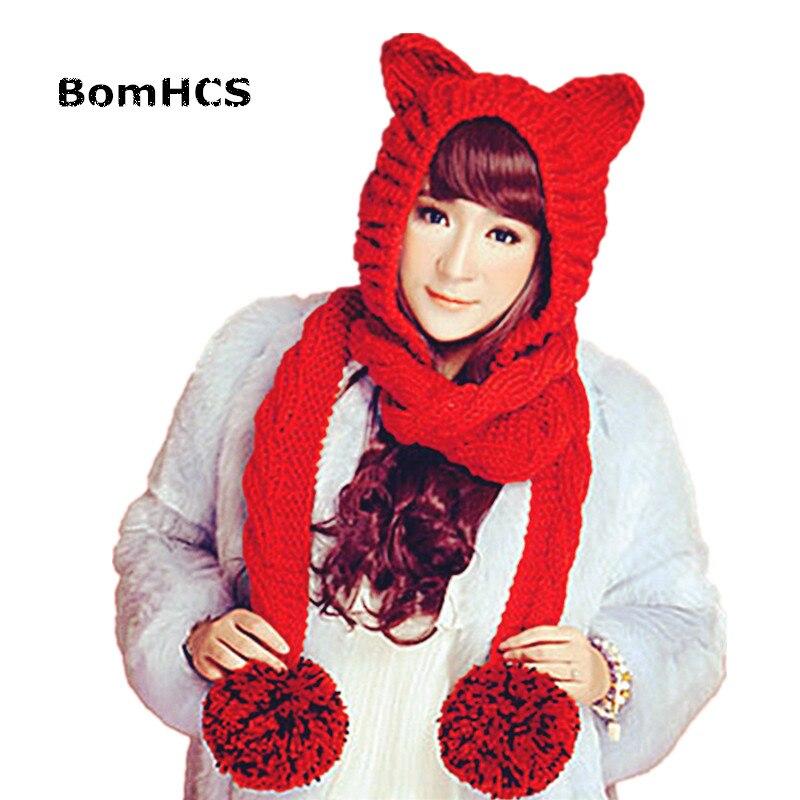 BomHCS женский толстый кабель ручной вязки большая шапочка с помпонами кошачьи уши теплая шапка с шарфом