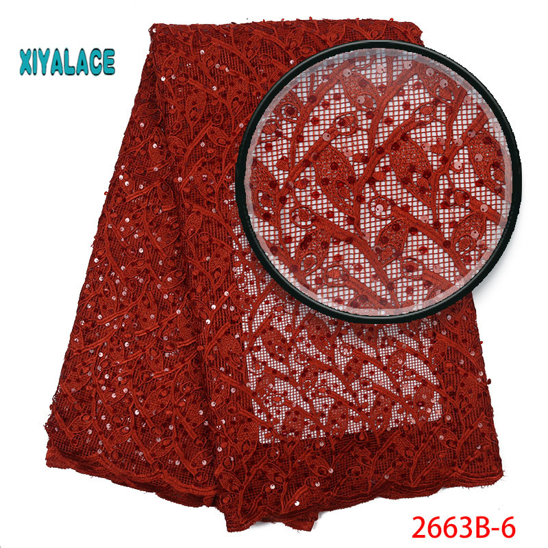 African Lace Fabric French Lace Nigerian Beaded Lace Fabrics African 2019 High Quality Lace Tulle For Party Dress YA2663B-6