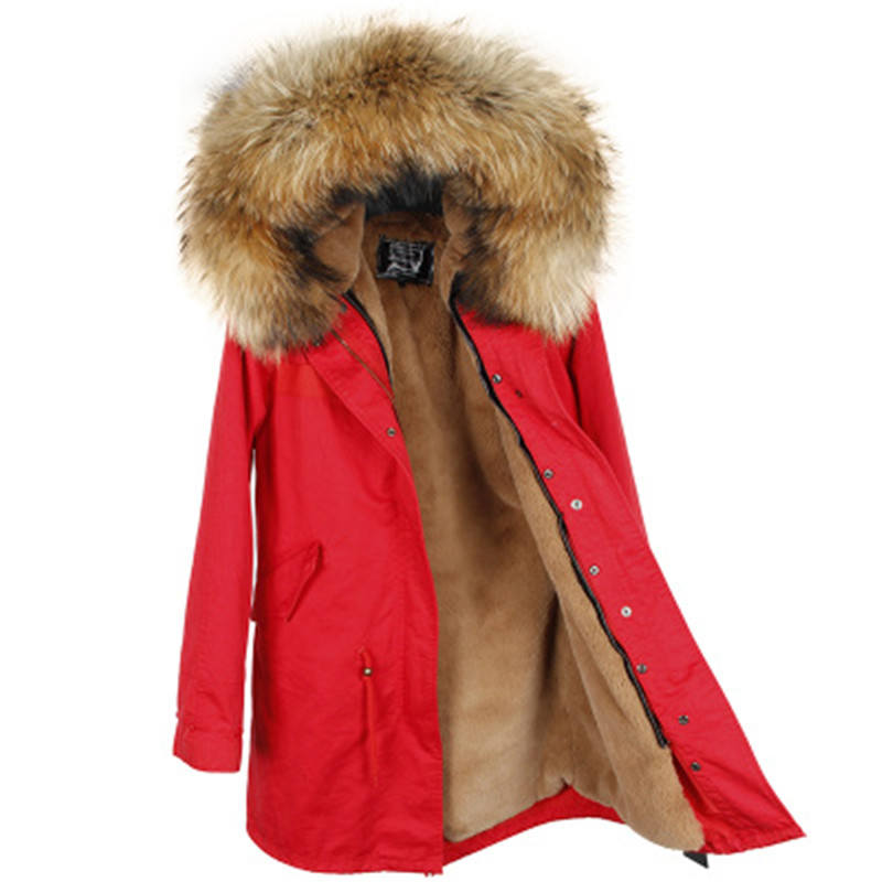 winter jacket brand style women's red blue long detachable lining Large color raccoon fur hooded coat parkas outwear 2017 women winter camo parkas large raccoon fur collar hooded coat outwear 2 in 1 detachable lining long jacket brand style