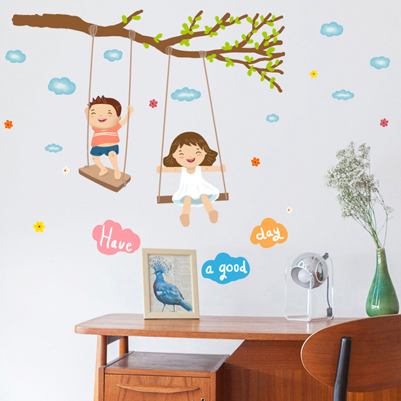 Desenhos animados do bebê menina menino swing adesivo de parede árvore nuvens feliz crianças quartos decoração adesivos diy berçário adesivo xn187
