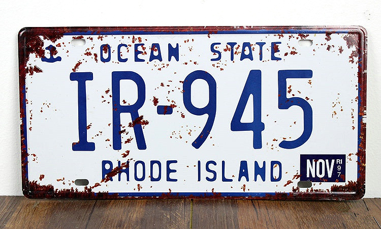 SP-CP-0158 Car License Plates number About OCEAN STATE IR-945  Retro Vintage Metal tin signs Wall art craft painting 15x30cm