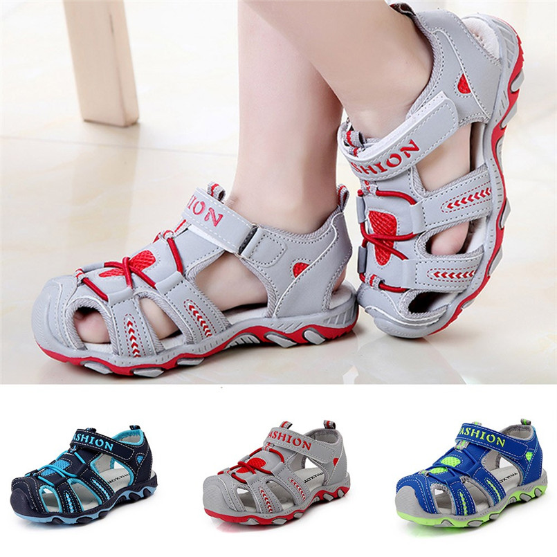 2018 Hot Sale Baby Shoe Toddler Kids Shoes Baby Boy Girl Closed Toe Summer Beach Sandals Shoes Sneakers bebek sandalet zapatos T