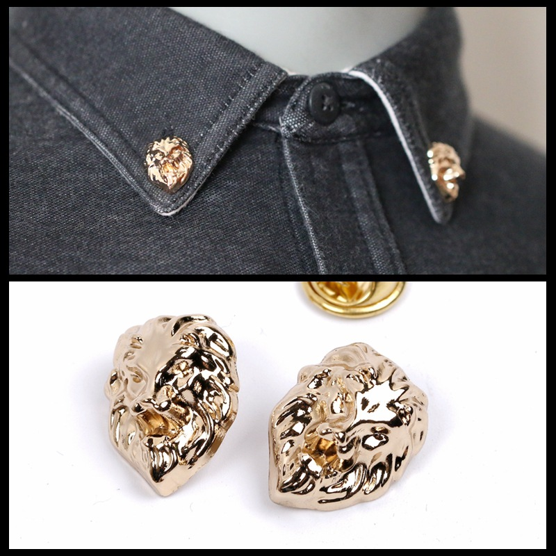 10 pieces/lot 2018 Lion Metal Brooch Paint Enamel Brooches Men and Women Suits Dress Hat Collar Brooch Pins Scarf Buckle Gift