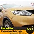 Styling de carro para 2016 Nissan Qashqai alta qualidade cromo farol sobrancelha sobrancelha decoração guarnição ABS tampa da lâmpada de cabeça cheia 2 pcs