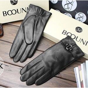 Image 2 - BOOUNI hakiki deri eldiven moda trendi kadın koyun derisi eldiven termal kış artı kadife deri sürücü eldivenleri NW745