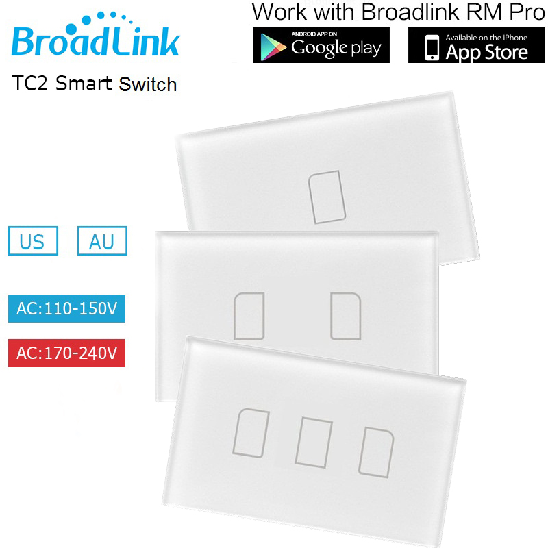 US/AU Standard Broadlink 1 2 3 Gang Remote Control Light Switch, Wireless Control Wall Switch, Wall Touch Switch For Smart Home