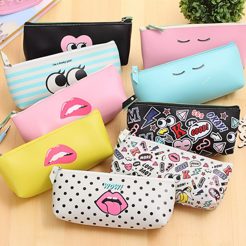 Modern Classroom Supplies ~ Cute modern girl pu leather school pencil case for