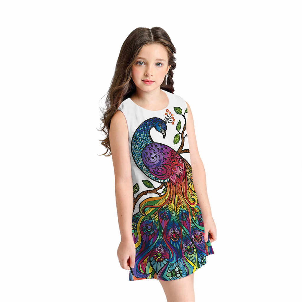 Платье для девочки-подростка с 3D рисунком, принт павлинье перо, платье, плотное, цветное короткое платье с принтом, детские платья без рукавов, Robe Fille Vestido