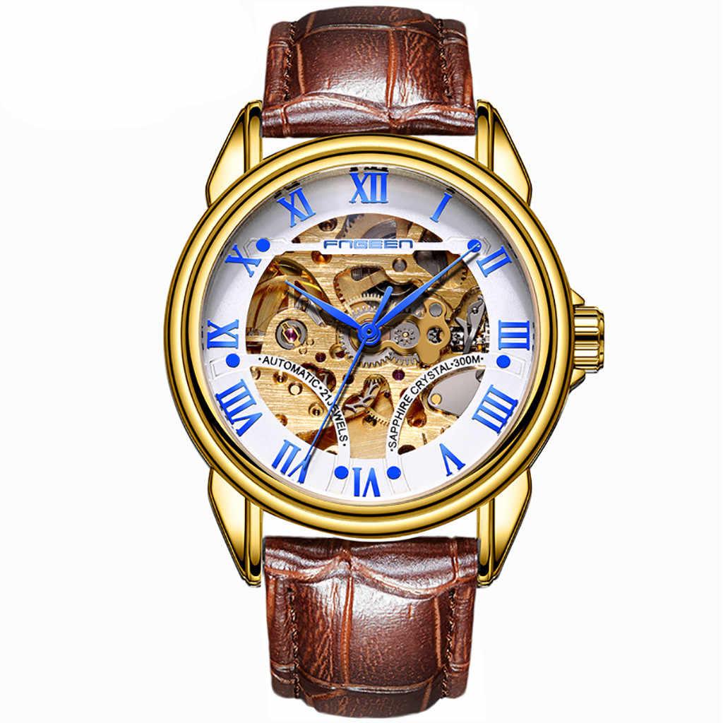 ساعة رجالية من relogio masculino skone FNGEEN مقاومة للماء بحزام من الجلد ساعة أوتوماتيكية ميكانيكية للرجال ساعة reloj mujer LD