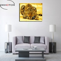 OKHOTCN Framed Leopard Animals DIY Painting By Numbers Acrylic Picture Wall Art Canvas Painting Home Decor