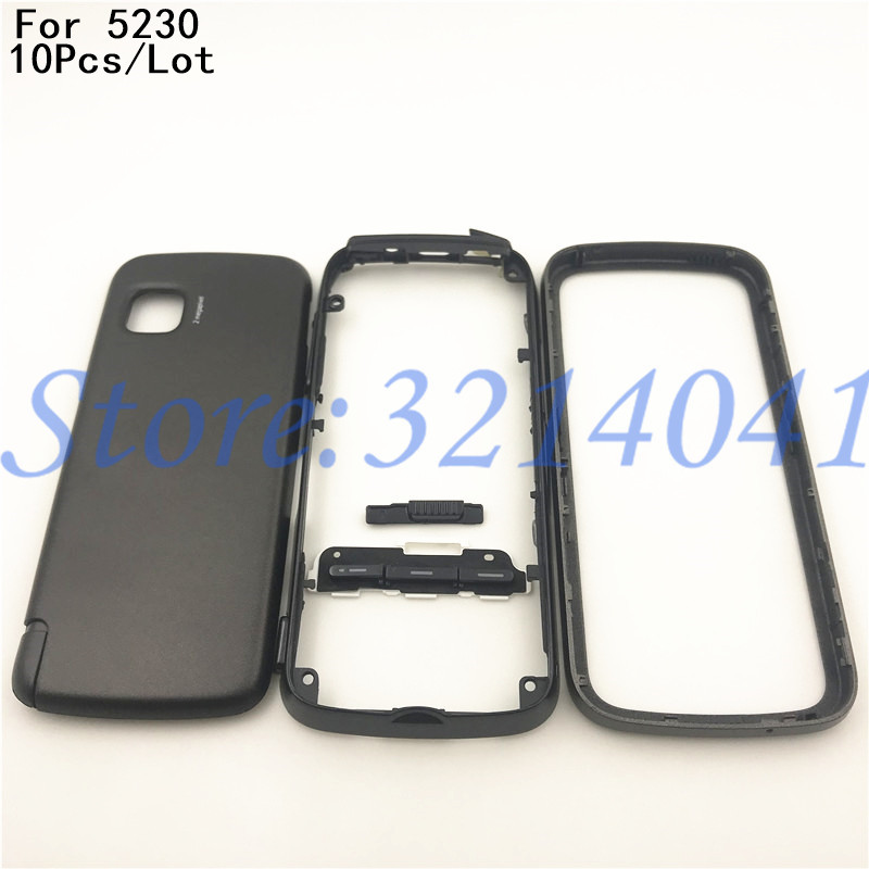 10Pcs/Lot Front Middle Frame Back cover Battery Cover For <font><b>Nokia</b></font> <font><b>5230</b></font> Full Housing Cover <font><b>Case</b></font> With Keypad+Logo image
