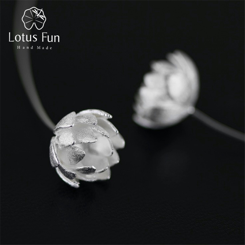 Lotus Fun Real 925 Sterling Silver Natural Original Handmade Fine Jewelry Lotus Flower Fashion Drop Earrings for Women Brincos lotus fun real 925 sterling silver handmade fine jewelry natural crystal lily of the valley flower brooches for women brincos