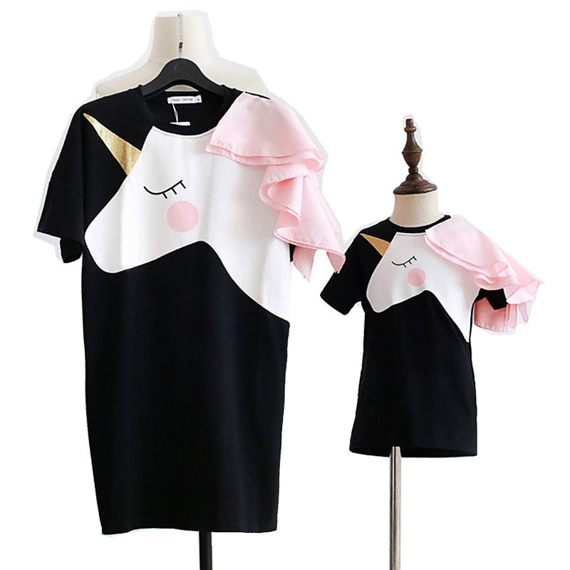 Summer Mother Daughter Dress Matching Family Outfits Mother Kids Clothes Matching Outfits Fashion Unicorn Flounce 1 To 9 Yrs