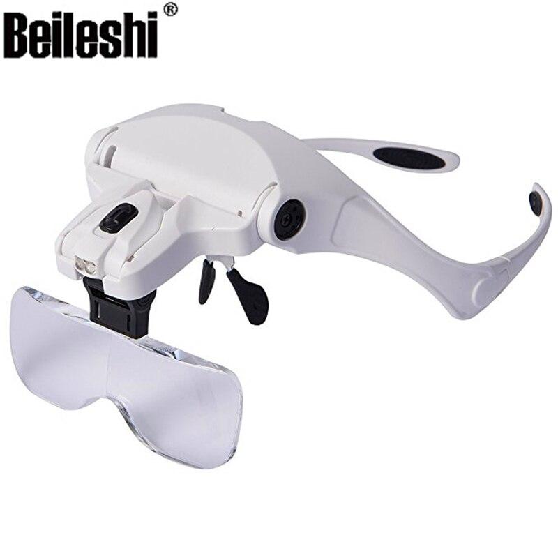 Vergrößerungen 5x Gläser Lupe 5x 2 2 Wimpern Austauschbar 1 Stirnband Verlängerung Lampe Für 0x Brillen Led 3 1 0x 5x CWxBeQord