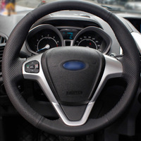 Top Leather Steering Wheel Hand stitch on Wrap Cover For Ford Fiesta 2008 13 Ecosport 2013 16