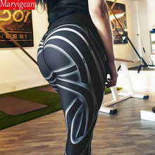 Maryigean Sexy Stripes Printed Yoga High Waist Leggings Women Hip Elastic Push Up Workout Slim Trousers 2019